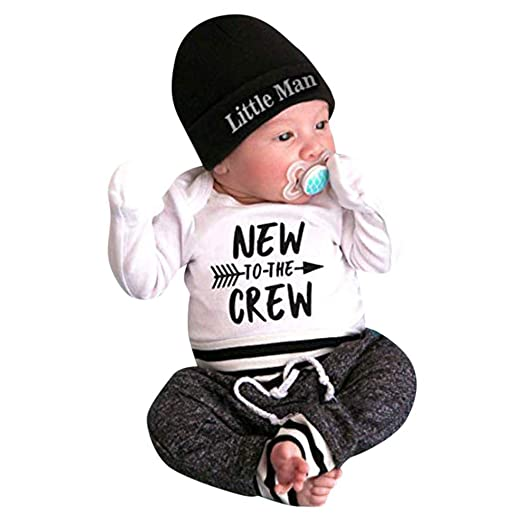 745625b0d5d2 Amazon.com  Newborn Baby Boy Clothes Funny Letter Printed Romper+ ...