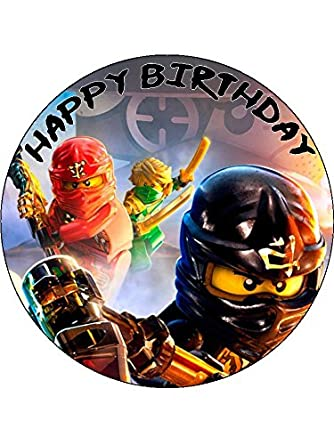 Lego Ninjago 75 Round Personalised Birthday Cake Topper Printed On Icing Amazoncouk Grocery