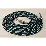 Pferdeseile_DE, ground lead, black/ turquoise natural, 4 metres, cotton bolt-snap, silver and dark leather