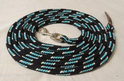 Suelo de cuerda negro de turquesa natural 4metros de algodón boltsnap Plata + Piel Oscuro Pferdeseile.De