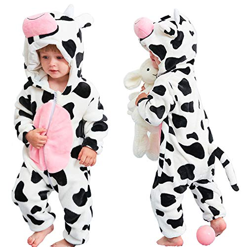 Infant Cow Costumes (qiaoniuniu Halloween Baby Cow Costumes Toddler Onesie Pajamas Infants Cosplay)