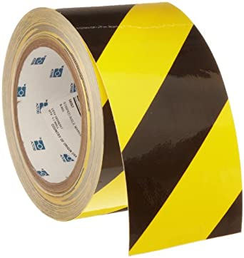 "Brady 60' Length, 3"" Width, B-950 Vinyl, Black And Yellow Color Striped Aisle Marking Tape, Legend (Black And Yellow Diagonal Stripes)"