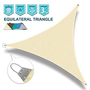 SoLGear Sun Shade Sail Strong Double Stitched Seam Wire Rope Hemmed All Edges Super Heavy Duty 220GSM Perfect for Patio Deck Yard Garden 20'x20'x20'