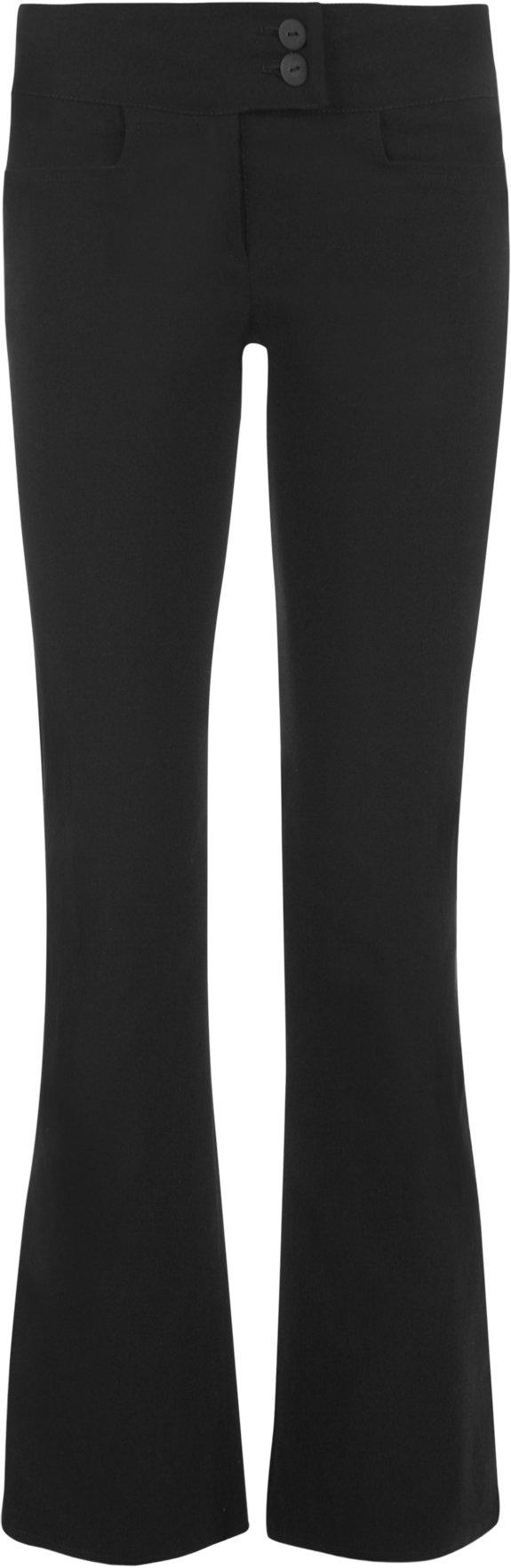 WearAll Women's Black Stretch Hipster Pants - Bootcut 2 Button - Size US 8 (UK 12) Inside Leg 33''
