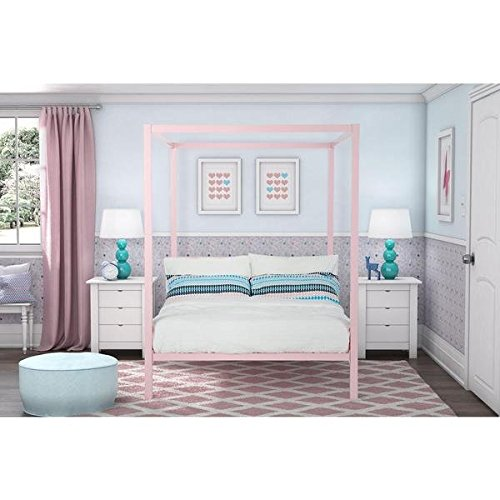 DHP Modern Pink Metal Full Canopy Bed by DHP