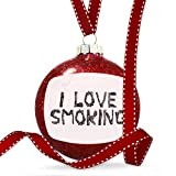 Christmas Decoration I Love Smoking Coal Grill Fire Place Ornament
