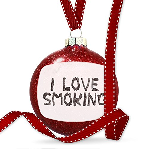 Christmas Decoration I Love Smoking Coal Grill Fire Place Ornament by NEONBLOND