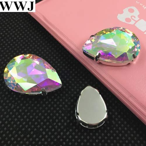 Calvas 10x14mm,13x18mm,18x25mm,20x30mm Rich Colors/Sizes for Choice Sew On Crystal Teardrop Fancy Stone with Metal Claw Setting - (Color: Crystal AB, Item Diameter: 18x25mm 72pcs)]()
