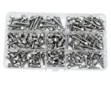 WGCD 240 PCS Stainless Steel #8 #10 Hex Washer Head Self Drilling Sheet Metal Tek Screws Assorted Kit (Hex Head)