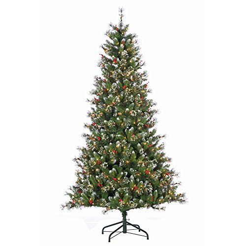 Newport Iced - Sterling Pre-Lit Hard/Mixed Needle Glazier Pine with Iced Tips, Pine Cones & Red Berries, 7.5 ft., 500 UL Clear Lights, 1171 Tips, 48 in. Base Width