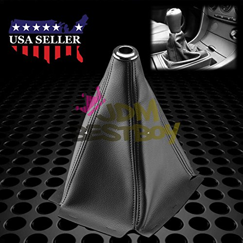 Universal Shift Knob Shifter Boot Cover Black With Black Stitches PVC Leather MT AT Sport PVC Leather (Shift Knob Leather Boot)