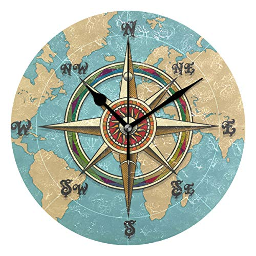 WXLIFE Vintage Nautical Compass World Map Round Acrylic Wall Clock, Silent Non Ticking Art Painting for Kids Bedroom Living Room Office School Home Decor