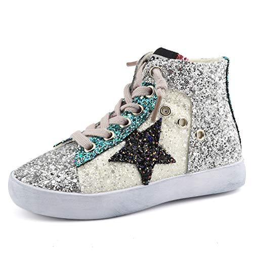 Bakkotie Toddler Baby Glittler Shoe Girl/Boy Sequin Star High Top Sneaker(F1701-White/BBNN-37)