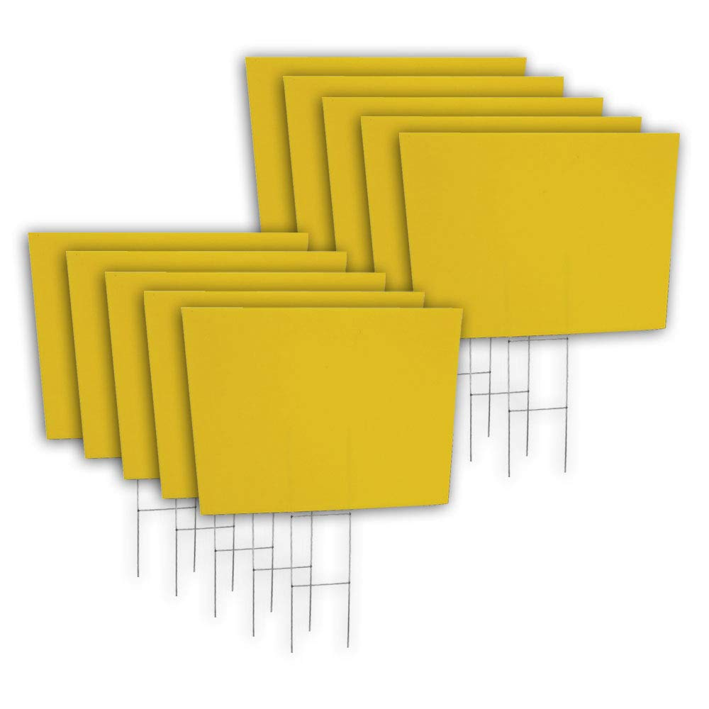Amazon com 10 quantity blank yellow yard signs 18x24 with h stakes for garage sale signs for rent open house estate sale now hiring or political lawn