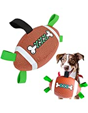 Pet Dog Football Toy, Dog Soccer Ball Interactive Puppy Ball with Grab Tabs Durable Dog Rugby Fetch for Small Medium Dogs Indoor & Outdoor