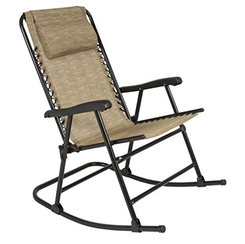 RP Beige Folding Rocking Chair Patio Lawn Garden Porch Yard Outdoor Foldable Rocker with Pillow Headrest and Armrest Furniture Camping Deck Seat Chairs Steel Portable New