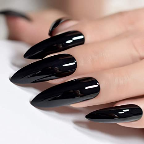 Amazon.com : Extra Long Sharp Classic Solid Black Stiletto False ...