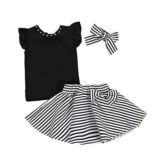 - 3Pcs Toddler Kids Girls Skirt Set Flare Sleeves Top+Black Striped Skirt Bow Summer Clothes Set (3-4 Years, Black top+Striped Skirt Set)
