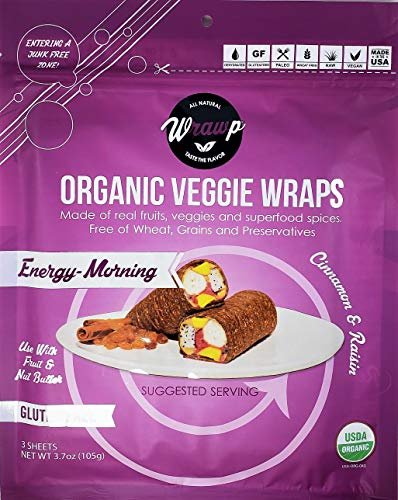 Organic Veggie Wraps - Mini Energy-Morning Wraps by Wrawp | Perfect for Wraps, Sandwiches, Crackers, Side Bread or a Simple Snack