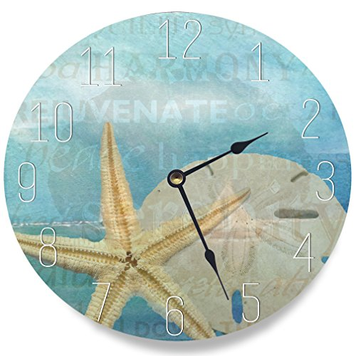 Cheap Stupell Home Décor Beach Starfish Light Blue Typography Decorative Vanity Wall Clock, 12 x 0.4 x 12, Proudly Made in USA