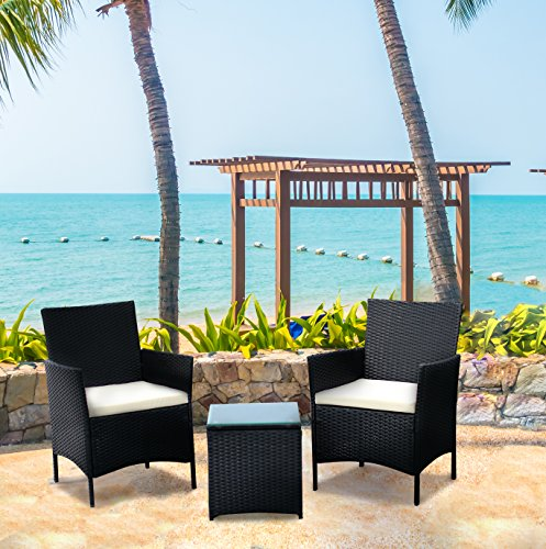 IDS Online MLM-17384 Vana Belle Patio Conversation Set with Coffee Table (3 Piece)