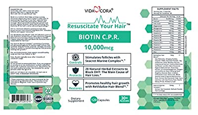 Vida Cora Biotin CPR Improve Hair Growth, Improve Skin Health & Thicker Nail. W/ Korean Red Seaweed, Mollusk Powder, Fish Cartilage, Saw Palmetto, Nettles Extract, Beta Sitosterol, Pygeum Bark