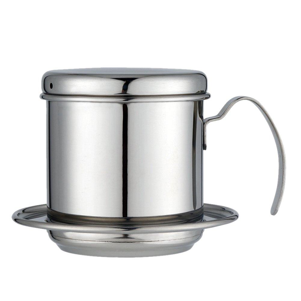 Gaeruite goteo de acero inoxidable cafetera eléctrica de goteo taza café vietnamita - Coffee Maker Pot 304 Acero inoxidable Drip Filter Kettle Cup - Portátil para uso en el hogar Oficina de acampar al aire libre (gold)