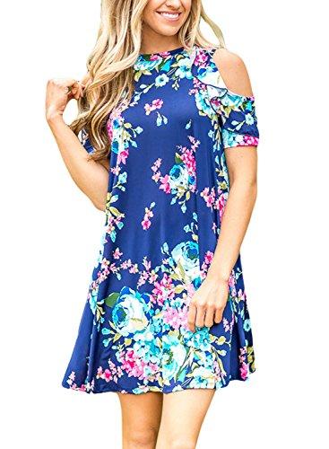 Annflat Women's Summer Floral Print Open Shoulder Casual Swing Mini Dress Small (Open Front Mini Dress)