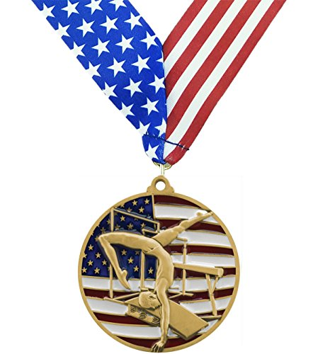 Gold Patriotic Gymnastics Medal - 2.75