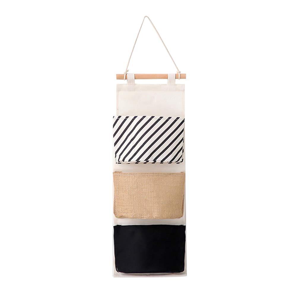 Outflower. Semplice Bianco e Nero Serie Tre Scomparto portaoggetti Appeso a Parete in Cotone Appeso a Parete Sacchetto Appeso Sacchetto di immagazzinaggio Multistrato (#3)