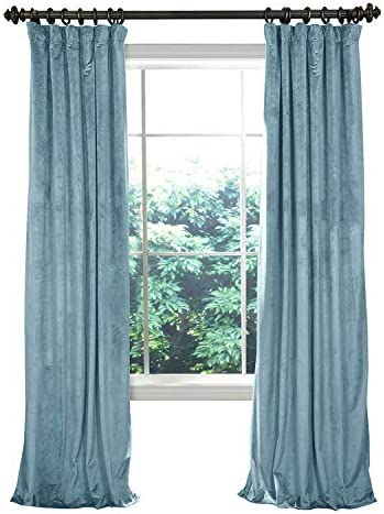 COFTY Solid Matt Luxury Heavyweight Velvet Curtain Drape with Blackout Thermal Lining Aqua Mist 100Wx63L Inch 1 Panel-doublewide – Flat Hooks Heading for Track