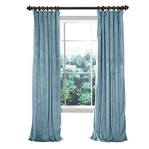 (COFTY Solid Matt Luxury Heavyweight Velvet Curtain Drape with Blackout Thermal Lining Aqua Mist 50Wx72L Inch (1 Panel) - Flat Hooks Heading for Track)