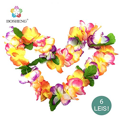 BOSHENG Hawaiian Luau Leis Necklaces for Tropical Flowers Tiki Summer Pool Parties,6 PCS