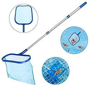 Tencoz Swimming Pool Skimmer, Fine Mesh Pool Net Heavy Duty Deep Bag Leaf Rake with Aluminum Telescopic Pole for Garden…