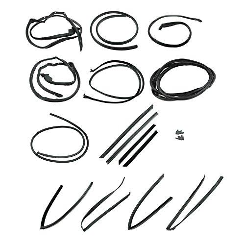 Hardtop Front Driver Door - 17 Piece Master Seal Weatherstrip Kit for Mercedes W107 380SL 450SL 560SL