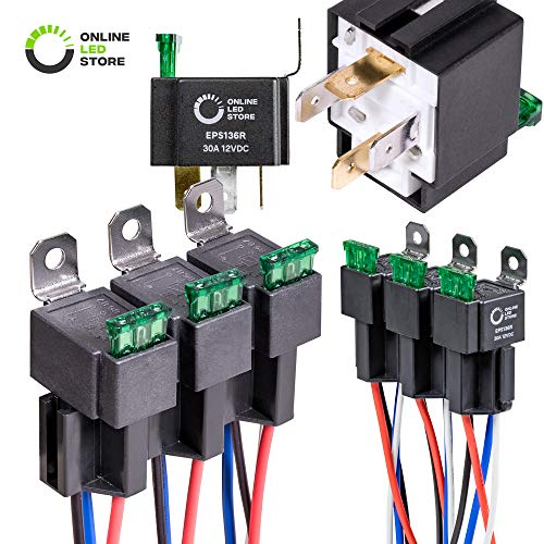 - ONLINE LED STORE 6 Pack 30A Fuse Relay Switch Harness Set - 12V DC 4-Pin SPST Automotive Relays 14 AWG Hot Wires