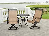 Hanover MANDN3PCSW-BS Manor 3 Piece Bistro Dining Set Outdoor Furniture, Tan