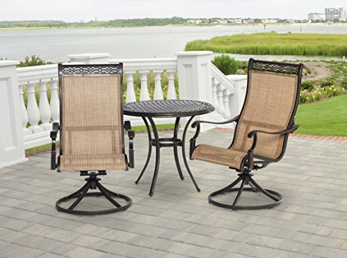 (Hanover MANDN3PCSW-BS Manor 3 Piece Bistro Dining Set Outdoor Furniture, Tan)