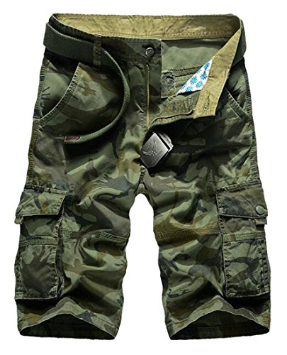 Lutratocro Mens Dungaree Multi-Pocket Ruched Ripstop Camo Baggy Cargo Shorts Green (Ruched Pocket Short)