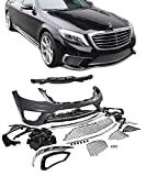 EAX Compatible with Mercedes S Class 14 15 16 17 W222 S63 Replacement for AMG Style Bumper Cover with Front End Fascia Kit Chrome Trim 2014 2015 2016 2017 Brand