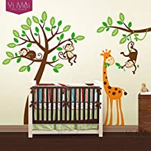 2016 NEW Cartoon Tree Wall Decals Zoo Monkey Giraffe Sticker Nursery Children Kids Baby Room Bedroom Play Room 200*250CM Home Decoration