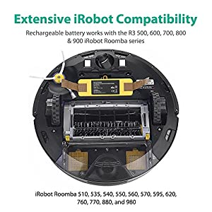 Roomba Battery RAVPower 5000mAh Replacement Battery for iRobot Roomba R3 500 600 700 800 900 Series, 500 510 530 535 540 550 560 570 580 595 600 620 630 650 660 700 760 770 780 790 800 870 880 900 980 from RAVPower