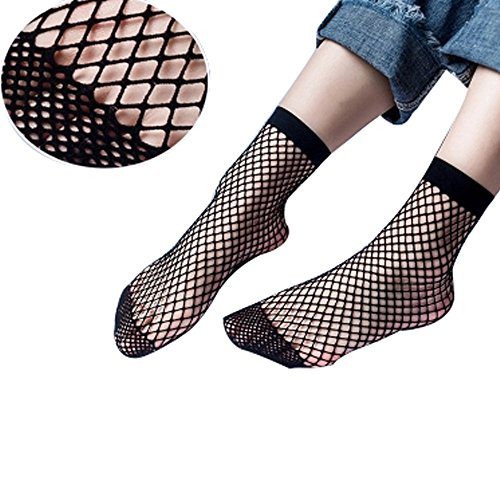 IDS 4 Pair Ffishnet Ankle Socks Mesh Sheer Ankle High Socks (Black)
