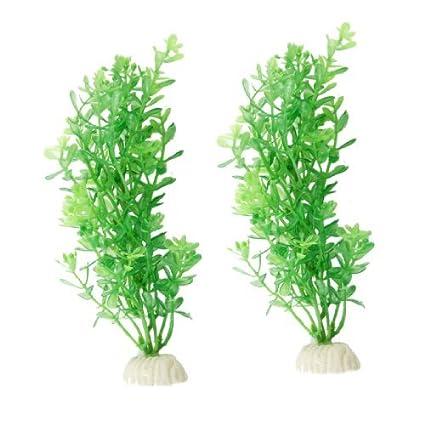 eDealMax 2-pieza de plástico acuario de hierba Artificial Planta de agua Conjunto, Verde
