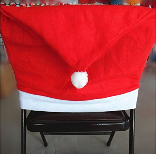 JCare 6 Pcs/Pack Santa Claus Red Hat Chair Covers Christmas Decoration Restaurant Kitchen Dining Table Decor Home Party by JCare (Image #3)