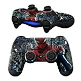 MODFREAKZ Pair of Vinyl Controller Skins – Red/Blue Spider for Playstation 4 For Sale