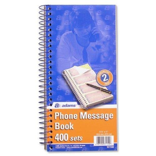Adams sc1154 – 2d電話メッセージBook、2-part、カーボンレス、あたり4 PG、BK、2あたり400 ST BK PKあたりby Adams   B0141NF5J2