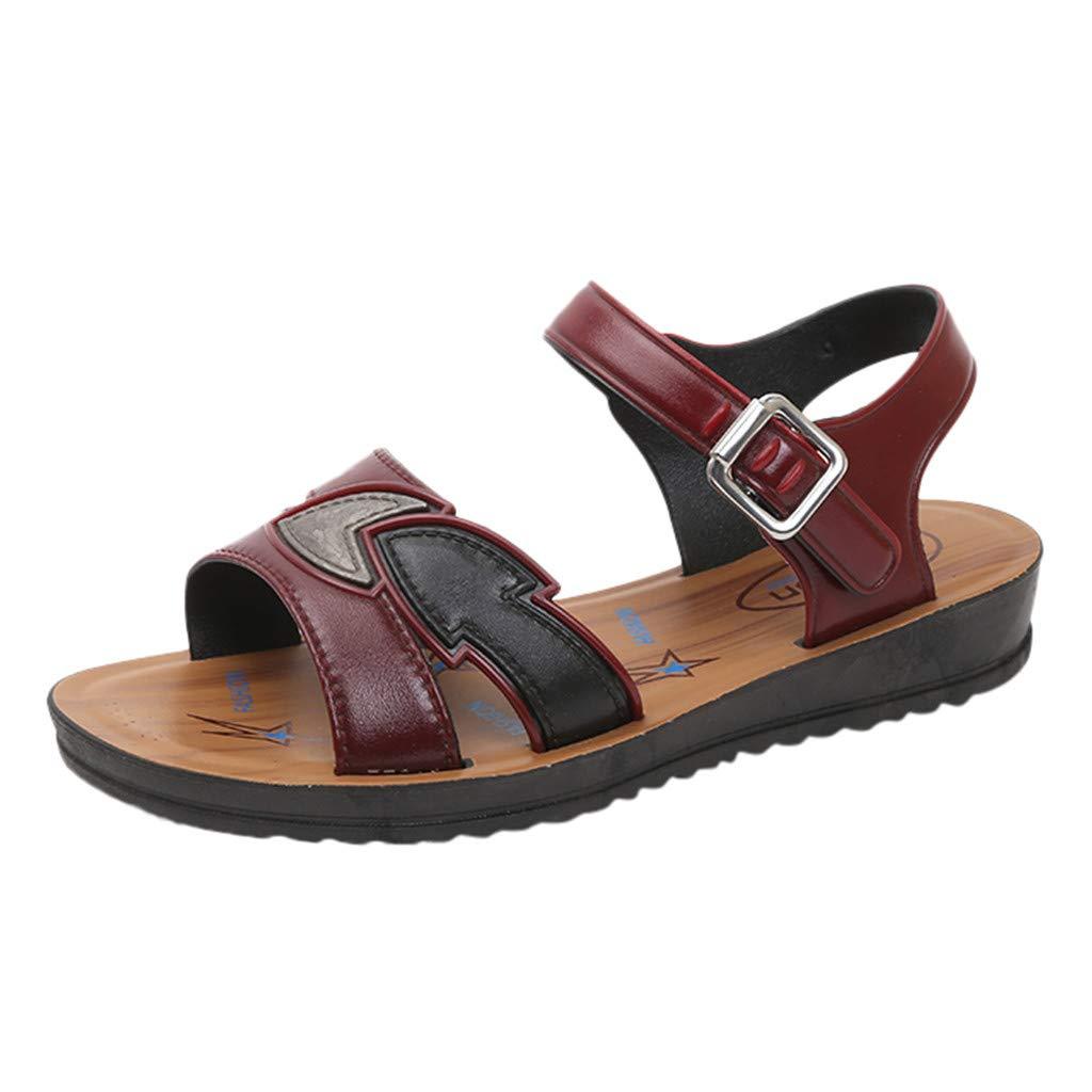 Clearance!Women Summer Fashion Flat Shoes, lkoezi Lady Buckle Beach Roman Sandals Shoes Bottom Roman Sandals