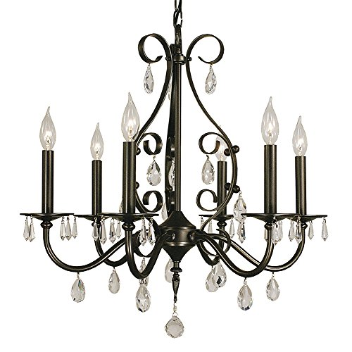 Framburg 2986 MB Liebestraum 6-Light Chandelier with Clear Crystal Accents, 24
