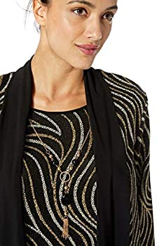 Alfred Dunner Womens Metallic Swirl Print Twofer with Removable Necklace